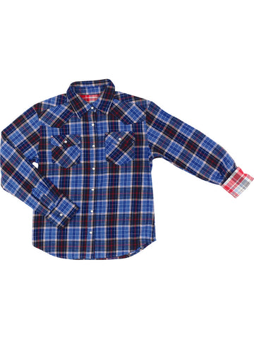 Womens Blue/White American Peace LS Flannel Shirt