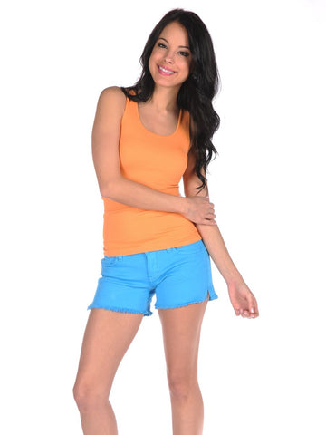 Womens Blue Frayed Denim Shorts