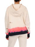 Womens Coral Pop/Indigo Dip-Dye Dip-Dye Pullover with High Side Slits 2