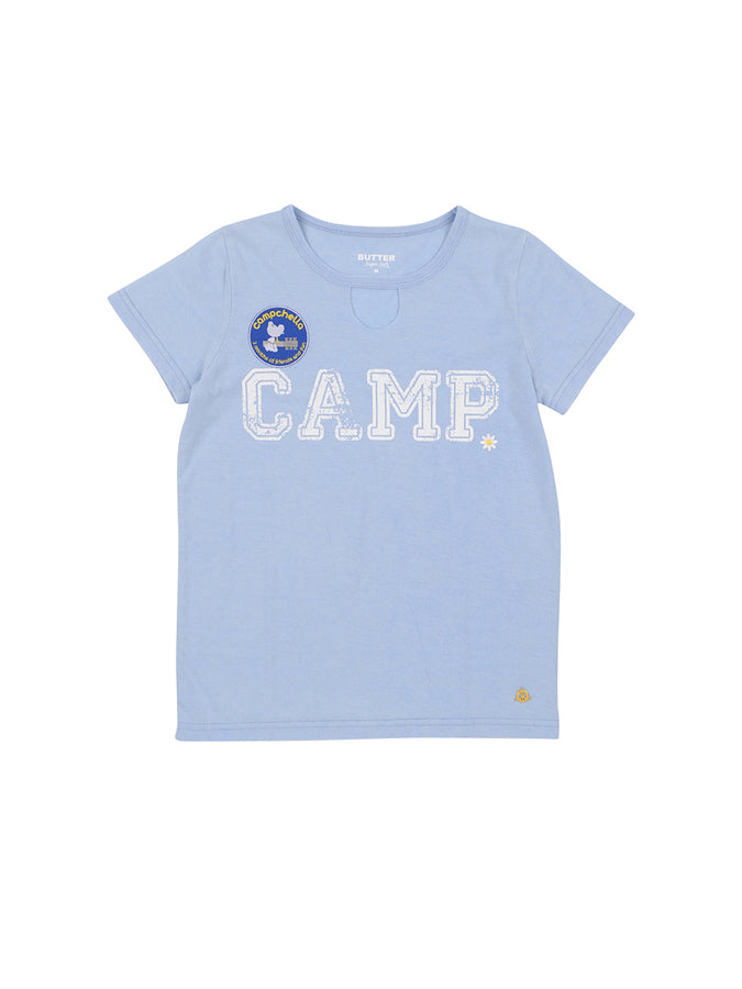 Womens Della Robbia Blue Camp Mineral Wash Jersey Tee