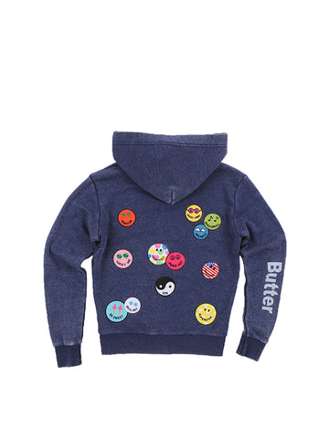 Womens Eclipse Smile Patches Burnout Fleece Zip Hoodie