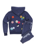 Womens Eclipse Smile Patches Burnout Fleece Zip Hoodie 4