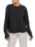 Womens Faded Black Crewneck Pullover with Side Slit