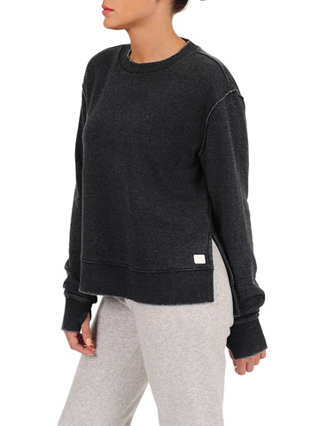Womens Faded Black Crewneck Pullover with Side Slit 4 Alternate View
