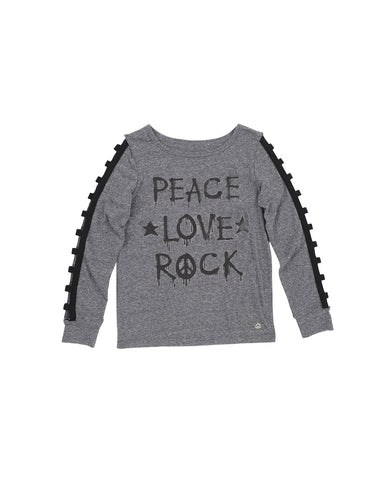 Womens Heather Charcoal Peace Love Rock Heathered Jersey Pullover