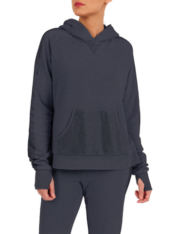 Womens Indigo Blinged Out Pullover Hoodie