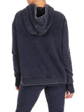 Womens Indigo Pullover Hoodie with High Side Slits 2
