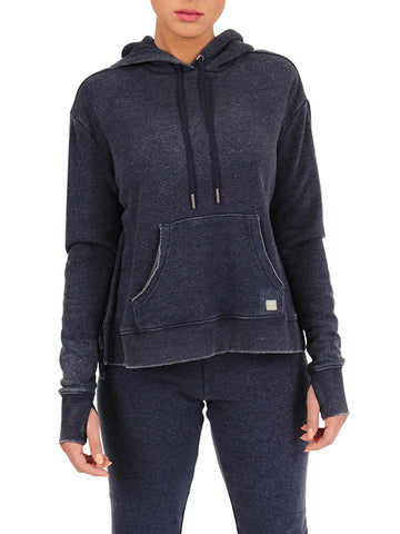 Womens Indigo Pullover Hoodie with High Side Slits