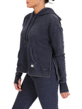 Womens Indigo Pullover Hoodie with High Side Slits 4