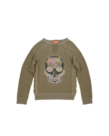 Womens Kalamata Sugar Skull Hamptons Fleece Pullover
