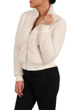 Womens Marshmallow Cropped Sherpa Bomber Jacket