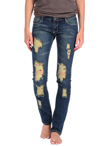 Womens Medium Wash Medium Wash Ripped Skinny