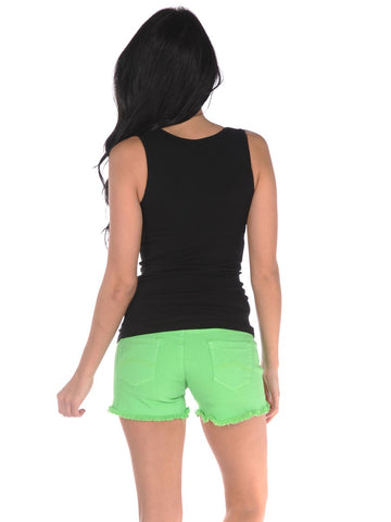 Womens Neon Green Frayed Denim Shorts 2 Alternate View