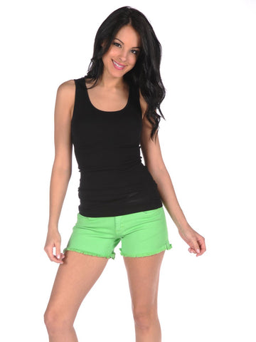 Womens Neon Green Frayed Denim Shorts