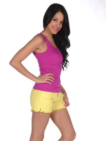 Womens Neon Yellow Frayed Denim Shorts 2 Alternate View