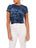 Womens Ocean Galaxy Dye Crew Neck Twist Front Crop Top