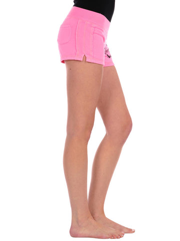 Womens Pink Crest Love Gym Short 2 Alternate View