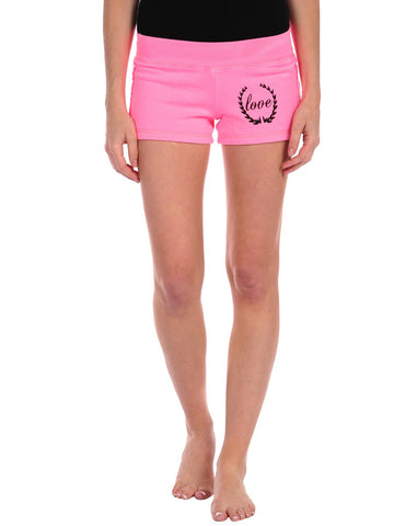 Womens Pink Crest Love Gym Short