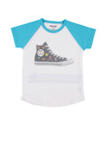 Womens Scuba Blue High Top Raglan S/S Jersey Tee