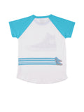 Womens Scuba Blue High Top Raglan S/S Jersey Tee 4