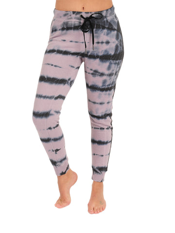 Womens Tropical Dusk Tie-Dye Blinged Out Basic Jogger
