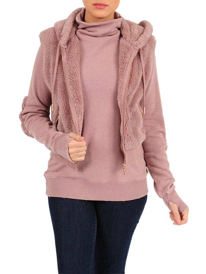 Womens Twilight Mauve Hooded Sherpa Vest