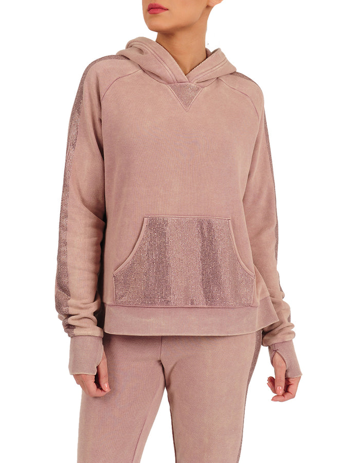 Womens Twilight Mauve Blinged Out Pullover Hoodie