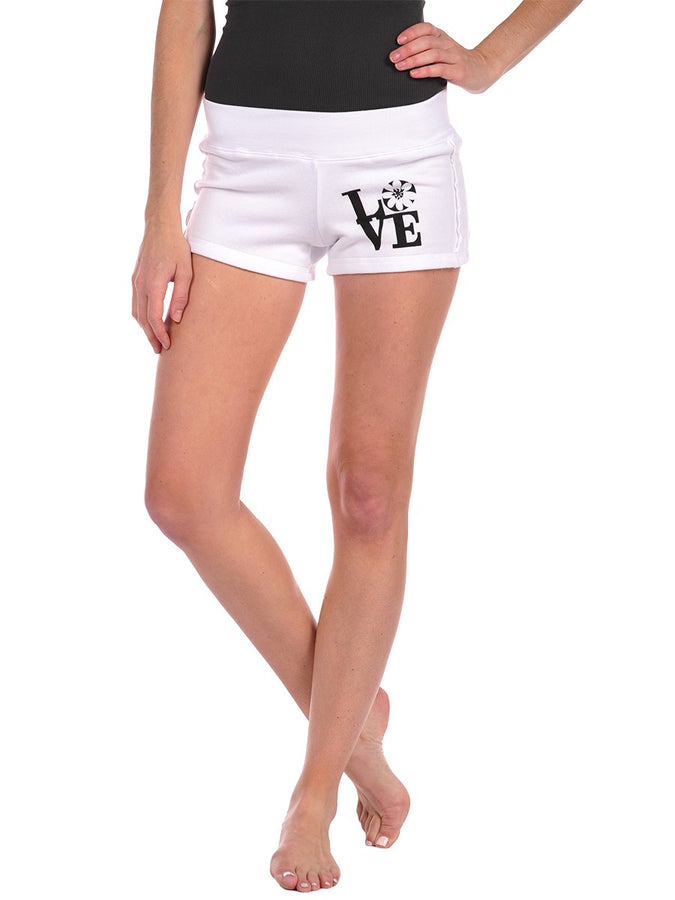 Womens White Blossom Love Gym Short