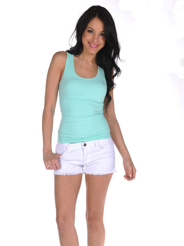 Womens White Frayed Denim Shorts