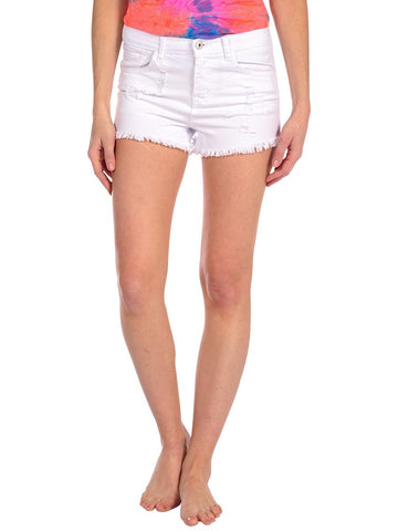 Womens White High Rise Denim Short