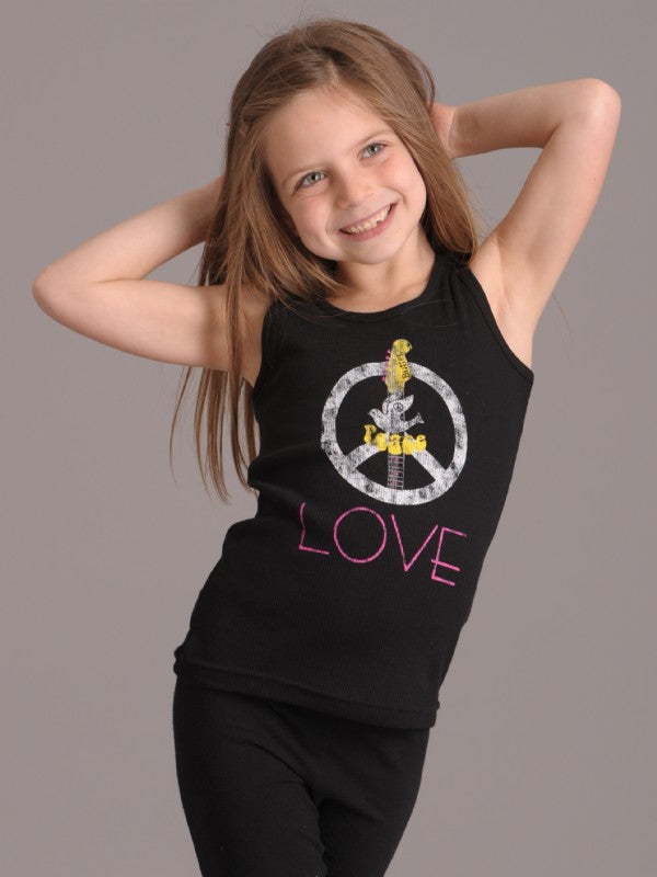 Girls Black Kids Printed Peace Dove Guitar Tank