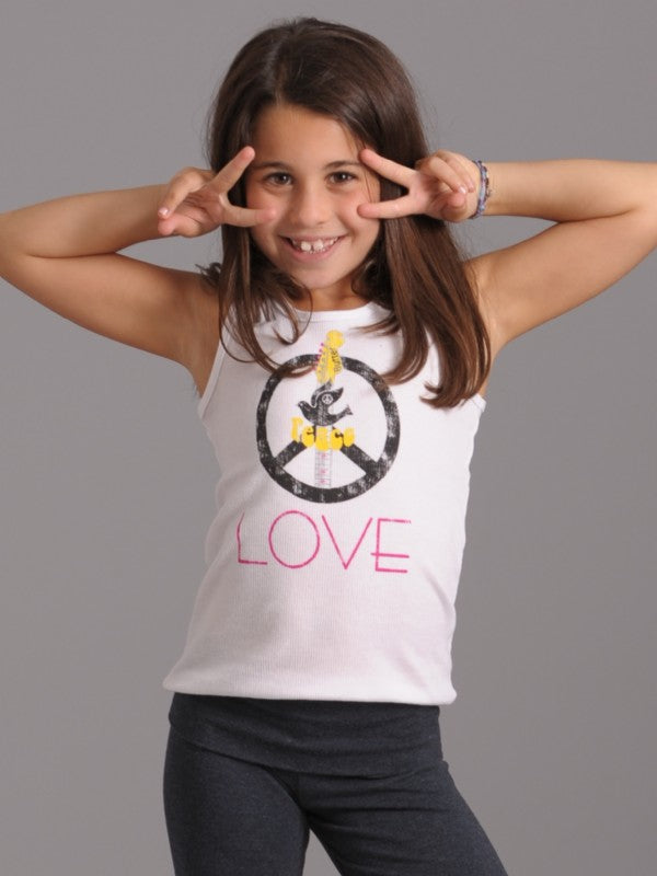 Girls White Kids Printed Peace Dove Guitar Tank