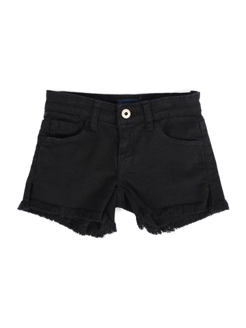 Womens Black Kid's Destroyed Frayed Denim Short