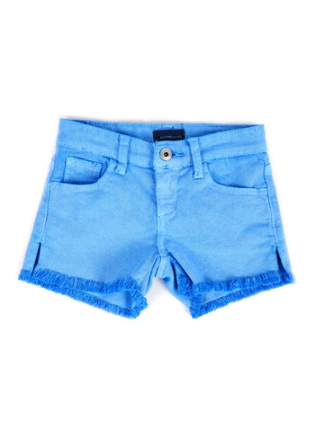 Womens Blue Kid's Destroyed Frayed Denim Short