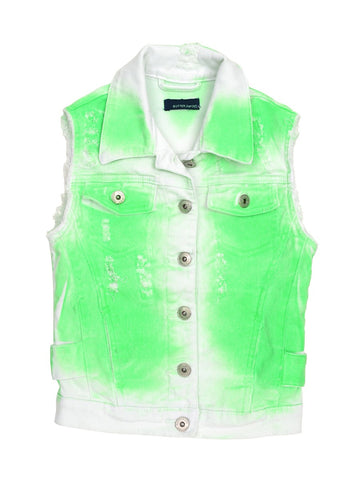 Womens Green Kids Lazer Wash Denim Vest