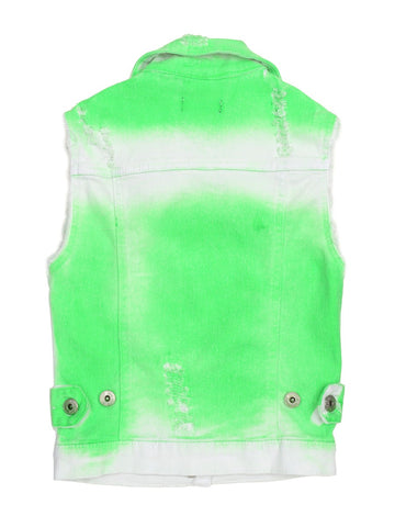 Womens Green Kids Lazer Wash Denim Vest 4 Alternate View