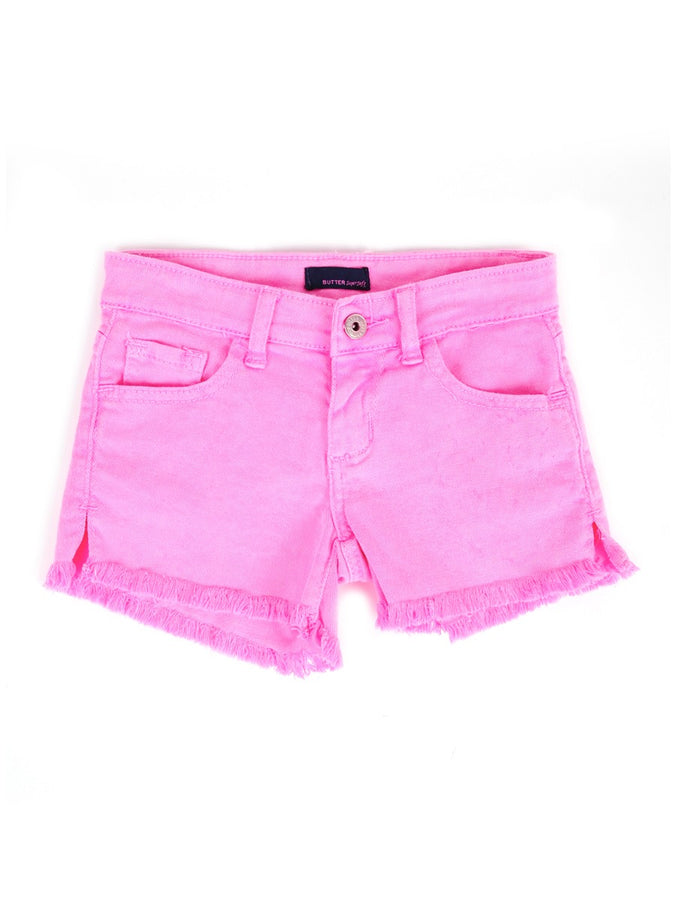 Womens Hot Pink Kid's Destroyed Frayed Denim Short