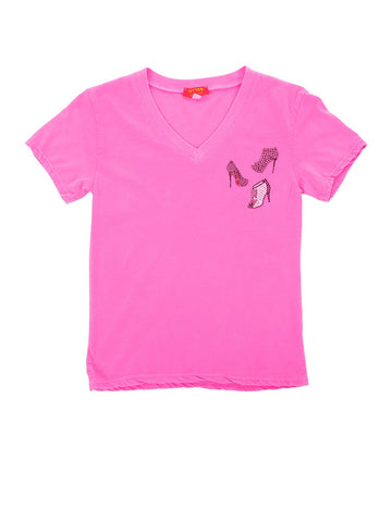 Womens Hot Pink Kids Love High Heel Tee