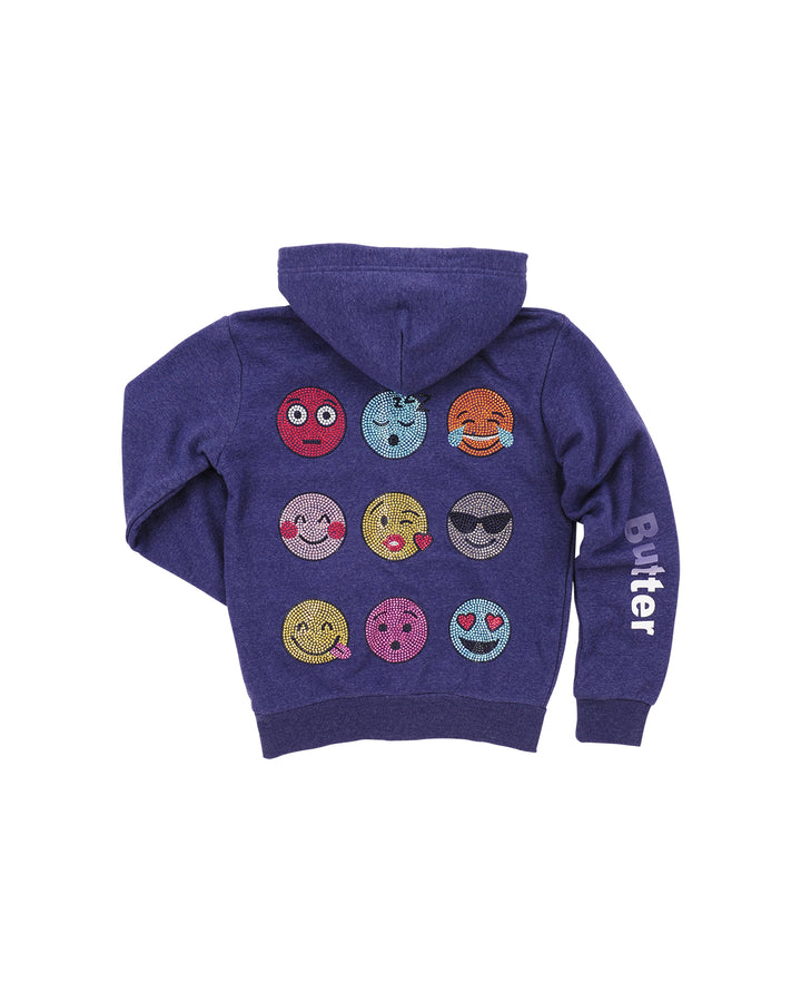 Womens Navy Kids Smiley Emoji Hoody