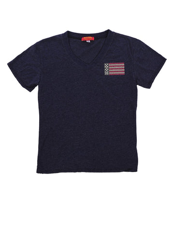 Womens Navy Kids Love American Flag Tee