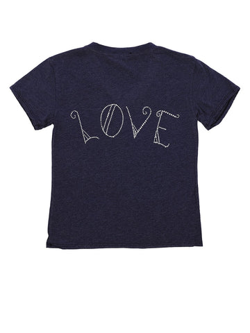 Womens Navy Kids Love American Flag Tee 4 Alternate View
