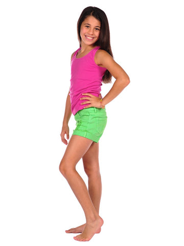 Womens Neon Green Kid's Ripped Cuff Denim Short 2 Alternate View