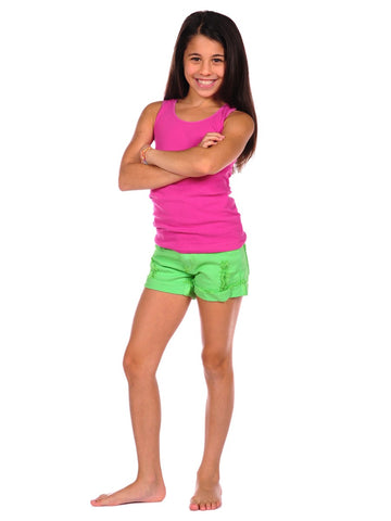 Womens Neon Green Kid's Ripped Cuff Denim Short