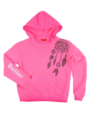 Womens Pink Kids Oil Wash Dreamcatcher Pullover Hoody