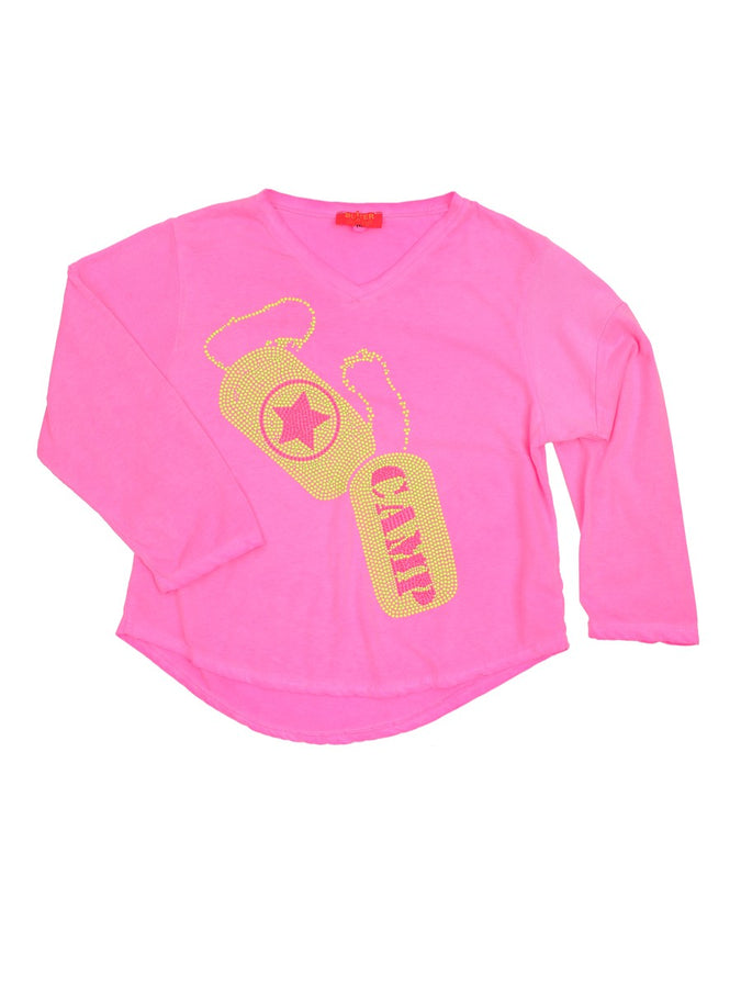Womens Pink Kids Camp Dog Tag Football Oil Tee