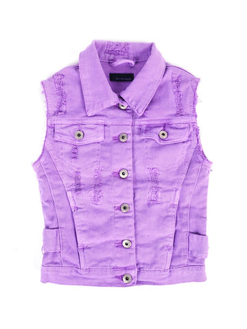 Womens Purple Kids Rainbow Patch Denim Vest