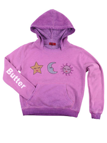 Womens Purple Kids Oil Wash Star Moon Sun Pullover Hoody