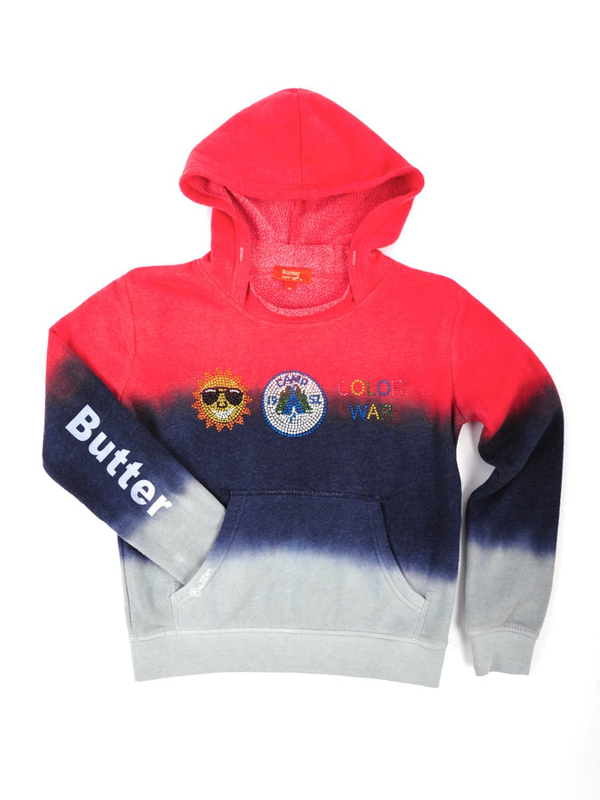 Womens Red/Navy/Grey Kids Triple Dye Camp Pullover