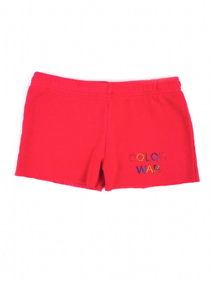 Womens Red Kids Color War Cut Off Short