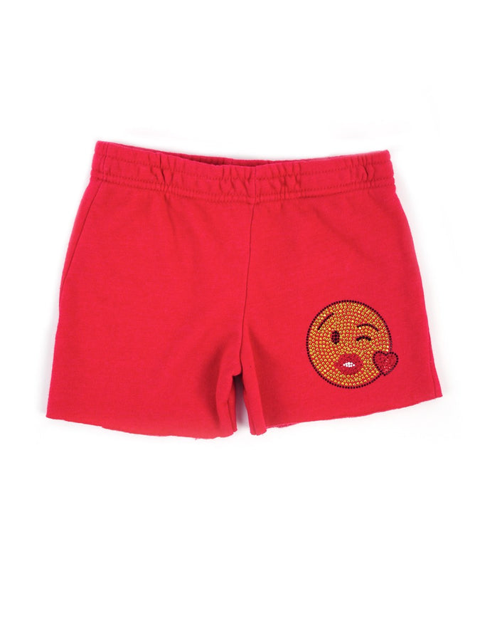Womens Red Kids Kiss Emoji Cut Off Short